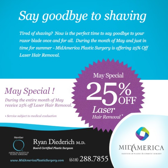 25% Off Laser Hair Removal During The Month Of May 2014